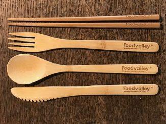 bamboe bestek voorzien van logo en website